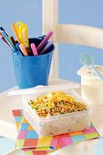 Fried organic rice in a lunchbox for school