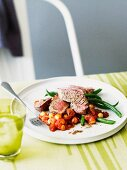 Roast lamb fillet with chickpeas