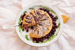Autumnal nut tart with cranberries