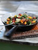 Swiss chard with bacon and croutons