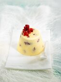 White chocolate parfait with raspberries