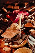 Pieces of chocolate and pralines