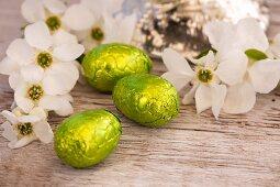 Chocolate eggs and garden jasmine
