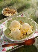 Hazelnut ice cream with hazelnuts