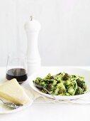 Pappardelle con le cime di rapa (pasta with rapini)