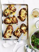 Toast topped with aubergine chutney and provolone