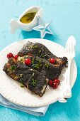 Baked carp with a poppy seed crust for Christmas