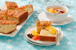Sponge cake with citrus fruit (Christmas)