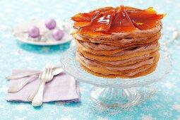 Hungarian Christmas cake with caramel shards