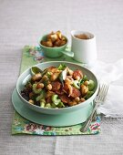Chickpea and celery salad with chorizo