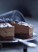 Chocolate cream cake with blueberries