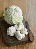 Cauliflower on a chopping board