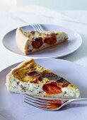 Semolina tart with herbs and tomatoes