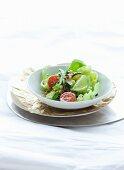 Vegetable salad with lentils and passion fruit vinaigrette