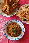 Aubergine caviar with paratha (India)