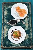 Marinated char with rösti and honey and mustard sauce