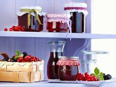 Berry jelly in jars on a shelf