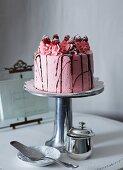 Stracciatella and raspberry cake
