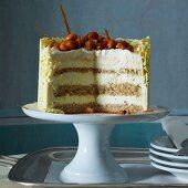 Vanilla mousse layer cake with caramelised hazelnuts
