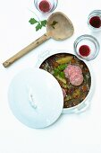 Potato and lentil stew with Lyon sausage