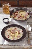 Bean soup with potatoes, bacon and milk (Slovenia)