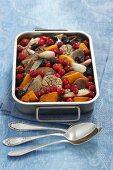 Squash bake with cranberries, pears, turkey, garlic and shallots