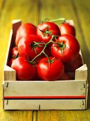 Fresh vine tomatoes in a crate