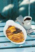 Mango dessert with espresso and chocolate cream