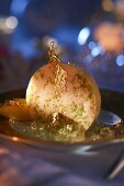Lime parfait with gold leaf