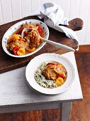 Braised chicken with apricots and peppers