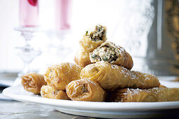 Ouarqa pastry rolls filled with lamb