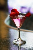 Vodka with rose liqueur and raspberries