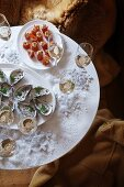 Oysters, smoked salmon and ricotta rolls and champagne for Christmas