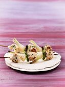 Chicken kebabs with peppers and spring onions