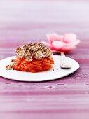 Tomato casserole with a bread crust
