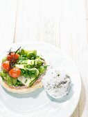 Vegetable tart with cheese-herb sorbet
