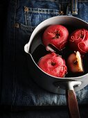 Apples in red wine with cinnamon