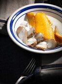 Poached shell fish with topinambur