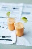 Carrot and ginger milkshakes