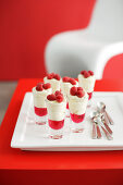 Mascarpone parfaits with raspberries