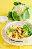 Spicy cauliflower with apricots and sultanas
