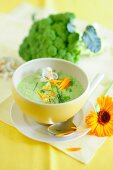 Cream of broccoli soup with marigolds