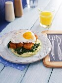 Fish fingers with a fried egg
