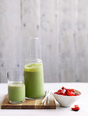 A basil smoothie with strawberries