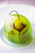 A chocolate dessert in a green ball