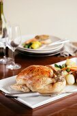 Roast chicken with a side of vegetables