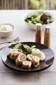 Chicken roulade with herbs and mashed parsnips