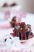 A chocolate Union Jack cupcake