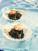 Black rice with prawns served in seashells (Spain)