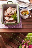 Turkey roulade with a curry and apricot sauce